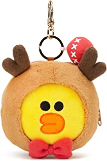 Line Friends Coin Purse Keychain - Character Winter Collection Pouch Change Holder with Keyring