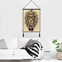 Poster Frames Hanger,Indie for Photo Picture Canvas Artwork Art Print Wall Hanging Lion Character Portrait with Glasses and Bowtie Hipster Smart Cool Dandy