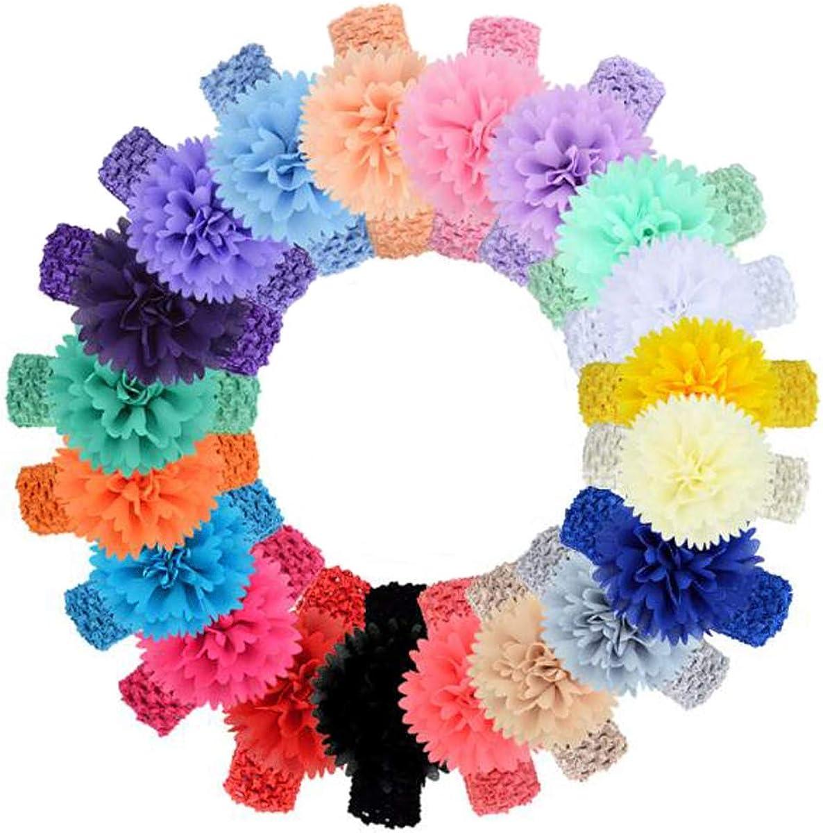 Ewanda store 15 Pcs Baby Girls Chiffon Headbands Peony Flower Baby Headband Baby Hair Accessories for Newborn Toddler Infants Girls