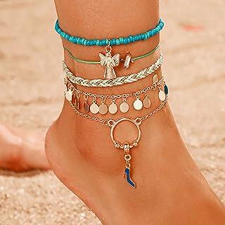 Ushiny - Cavigliera estiva a strati turchese oro Boho nappa spiaggia braccialetto alla moda paillettes piede gioielli set ...
