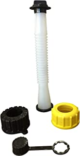 (1 Pack) Gas Can Spout Replacement with Gasket, Cap, Stopper and Rear Vent Cap. The Spout is Universal but Collar Screw Works just on Blitz Rubbermaid Essence Gott & Some RotopaX Kolpin