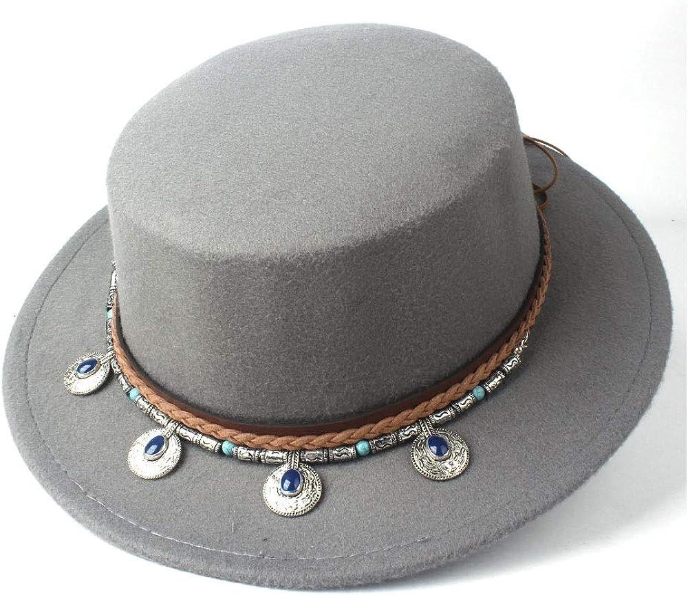L.W.SUSL Men Women Wool Flat Top Fedora Hat Wide Brim Hat Dance Party Hat Wool Trilby Church Hat