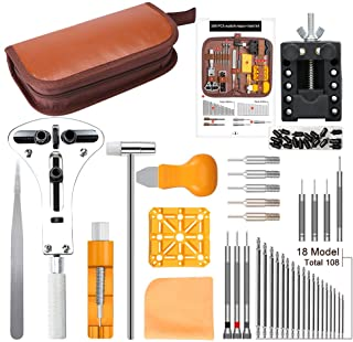 DIY Watch Repair Tool Kit, Kingsdun 168 in 1 Watches Band Strap Link Pins Battery Remover Replacement Adjustment Repair Tools Kits with Carrying Case & Manual