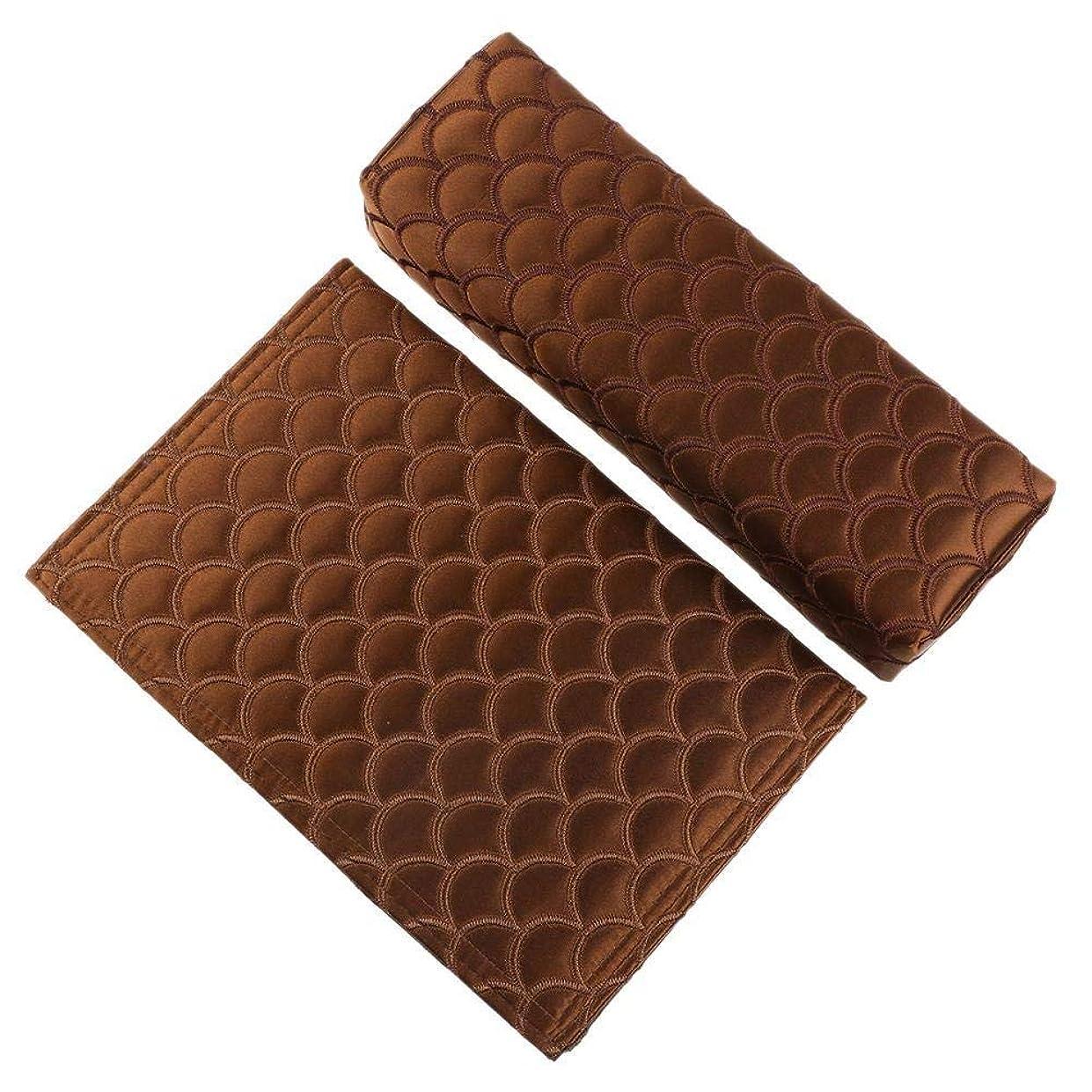 呪い真夜中によって6色2個折り畳み式の絶妙なソフトシルクネイルアートハンドピロー-アームレストマニキュアサロン用の高温耐性高品質ハンドクッション(06)
