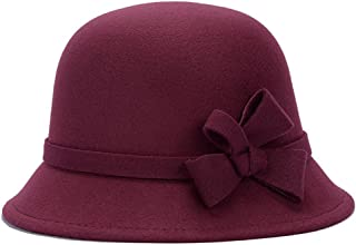 EsTong Women's Top Bowler Cap Vintage Style Cloche Bucket Hats With Bowknot