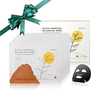 Unscented Organic Black Tea & Vitamin C Black Charcoal Balancing Face Mask Sheet for Women & Men, Hydrating, Brightening &...