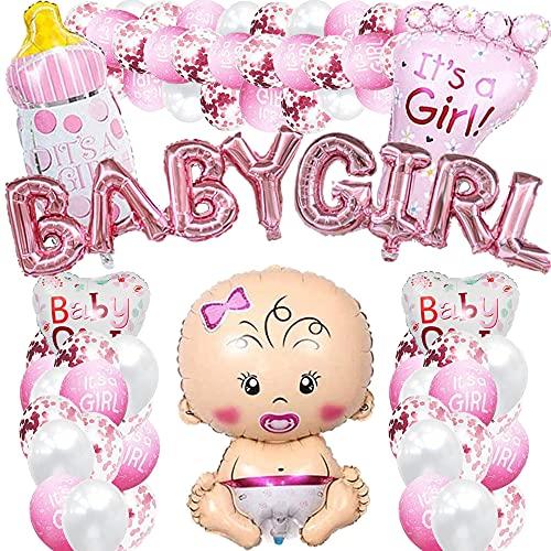 iWheat Babyparty Deko Mädchen, Rosa Baby Shower Dekoration, Gender Reveal Party Deko, Babydusche Taufe Dekorations für Mädchen mit Mädchen Ballon/Babygirl Banner/es ist EIN Mädchen Luftballons