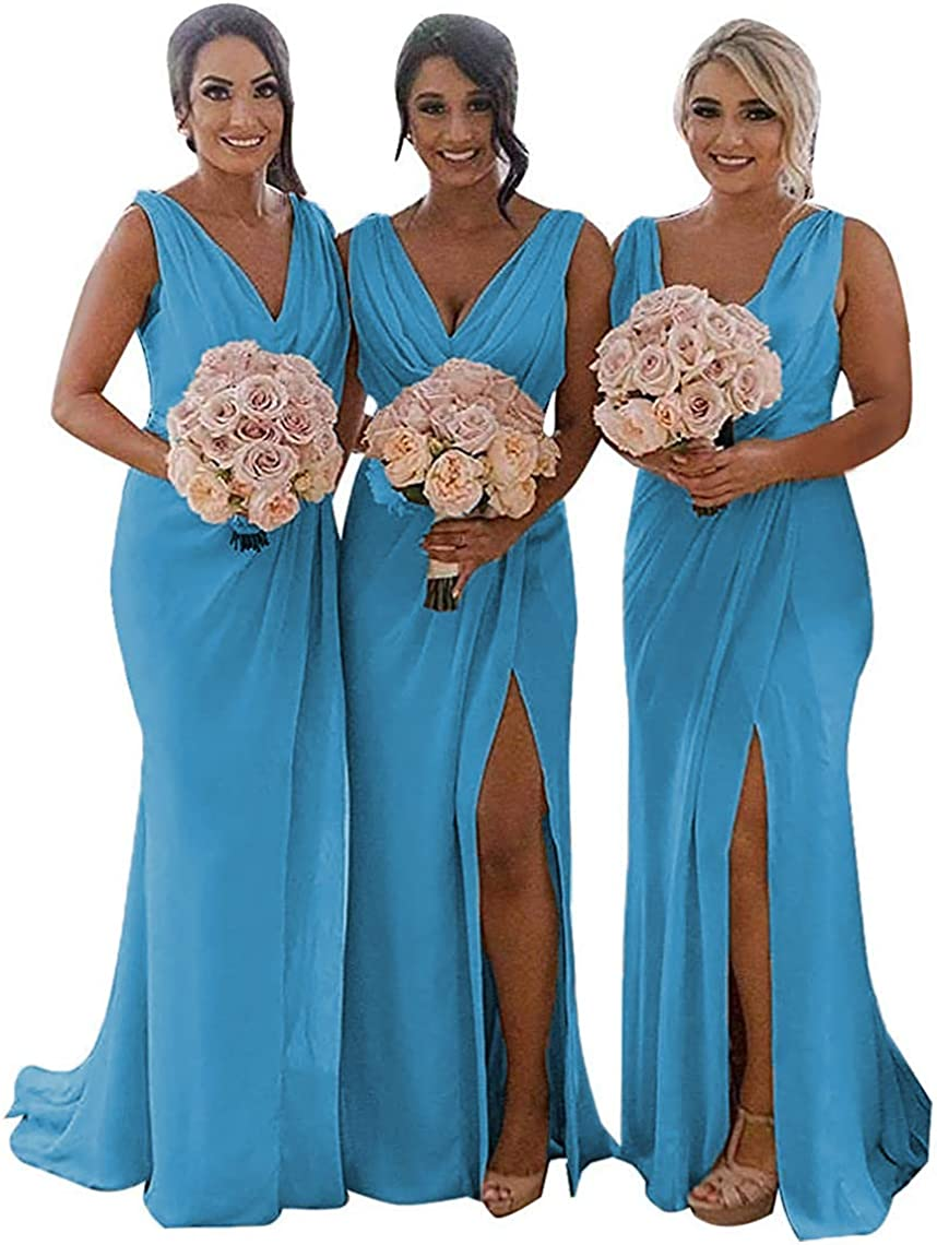V famous Neck Wedding Evening New popularity Bridesmaid Party Dresses C with Slit Long