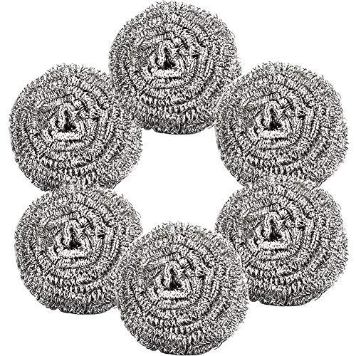 Topfreiniger-BESTZY 6 Stück Topfreiniger Edelstahl Scheuerspirale Sauber für Küche Reinigung Werkzeuge 6,5 cm