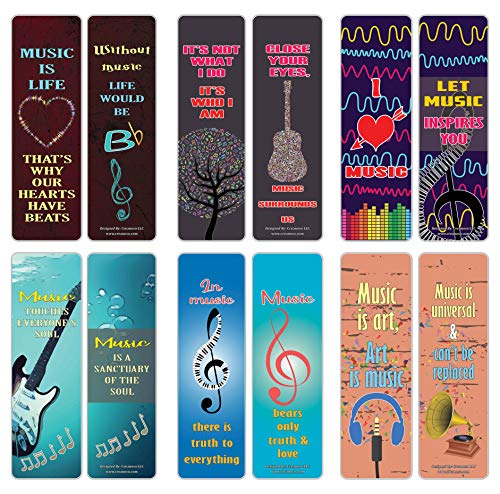 Creanoso Music Sayings Series 3 Bookmarks (60-Pack) – Six Assorted Quality Bookmarker Cards Bulk Set – Premium Gift for Men & Women, Adults, Teens, Musicians - Concert Giveaways – Musical Gifts