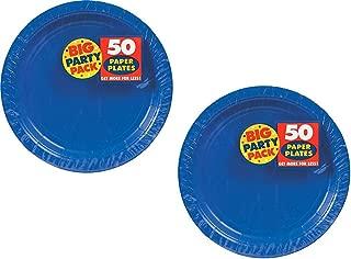 Amscan Paper Dinner Plates 9-Inch, 100/Pkg, Bright Royal Blue
