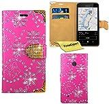Nokia Lumia 530 Hülle, FoneExpert® Bling Luxus Diamant Hülle Wallet Hülle Cover Hüllen Etui Ledertasche Premium Lederhülle Schutzhülle für Nokia Lumia 530 + Bildschirmschutzfolie (Rosa)