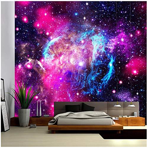 KBIASDBola de Fuego y Espacio Tela de poliéster Tapiz Nocturno Colgante de Pared Cortina Bohemia decoración del hogar 200x150cm