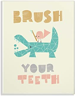 The Kids Room by Stupell Brush Your Teeth Mod Crocodile Wall Plaque Art, 10 x 0.5 x 15, Proudly Made in USA