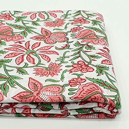 CRAFTOFPINKCITY Baumwoll-Stoff mit Blockdruck von der Höfe, indischer Stoff, handbedruckt, gesteppt, weiche Baumwolle, Sommerkleid, Stoff für Kinder, Kostüm, Nähen