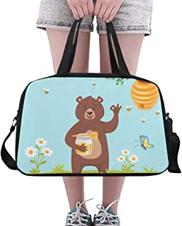 For Handbag Cute Bear Eating Sweet Honey Yoga Gym Totes Fitness Handbags Duffel Bags Shoe Pouch For Sport Luggage Womens Outdoor Gym Zip Bags