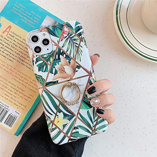 MoreChioce compatible avec Coque iPhone 11 Pro Max Paillettes Marbre Transparente SiliCone Etui avec Anneau Ultra Mince Housse de Protection Strass Glitter Brillant Rigid Cover Bumper,Weiß Blume