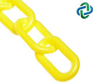 Mr. Chain Plastic Barrier Chain, Yellow, 2-Inch Link Diameter, 50-Foot Length (50002-50)