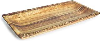 THE CHEF COLLECTION Bandeja de plato de acacia con Borde rústico y diseño único para presentación 30x14,5x2,5 cm