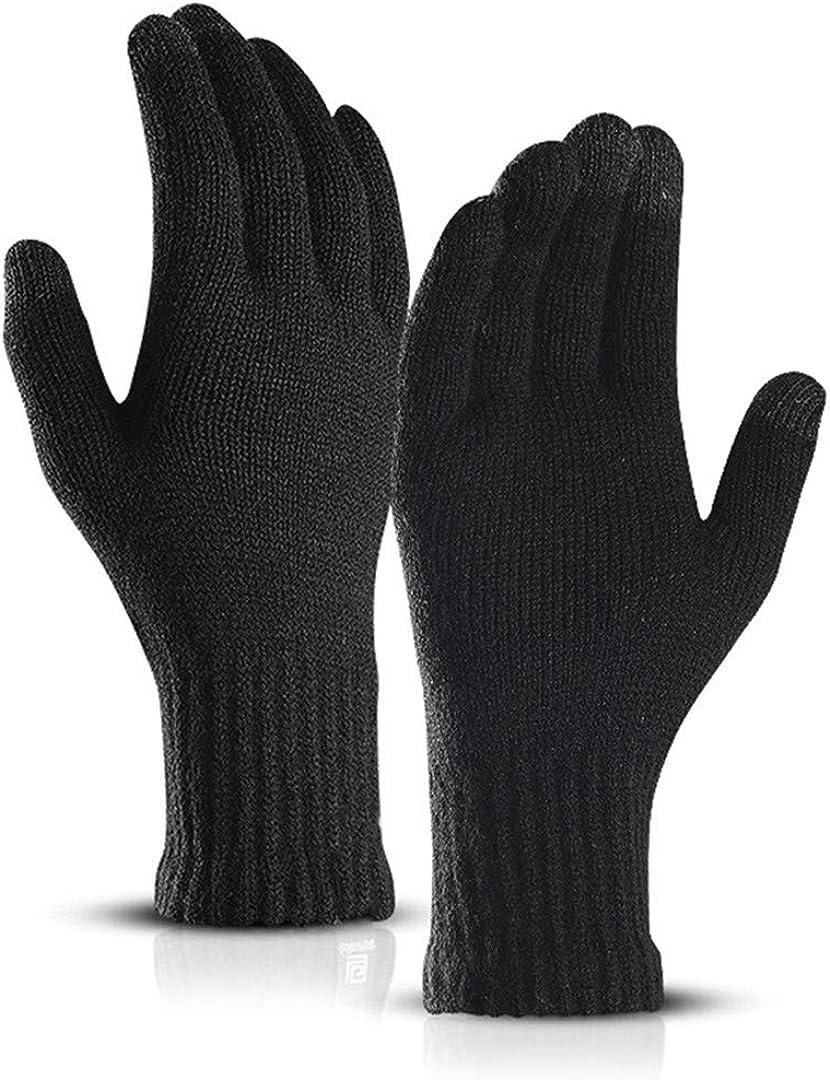 Touch Screen Knitted Gloves Men Women Thicken Wool Mitten Outdoors Anti-Slip Warmer Couple Gloves black1