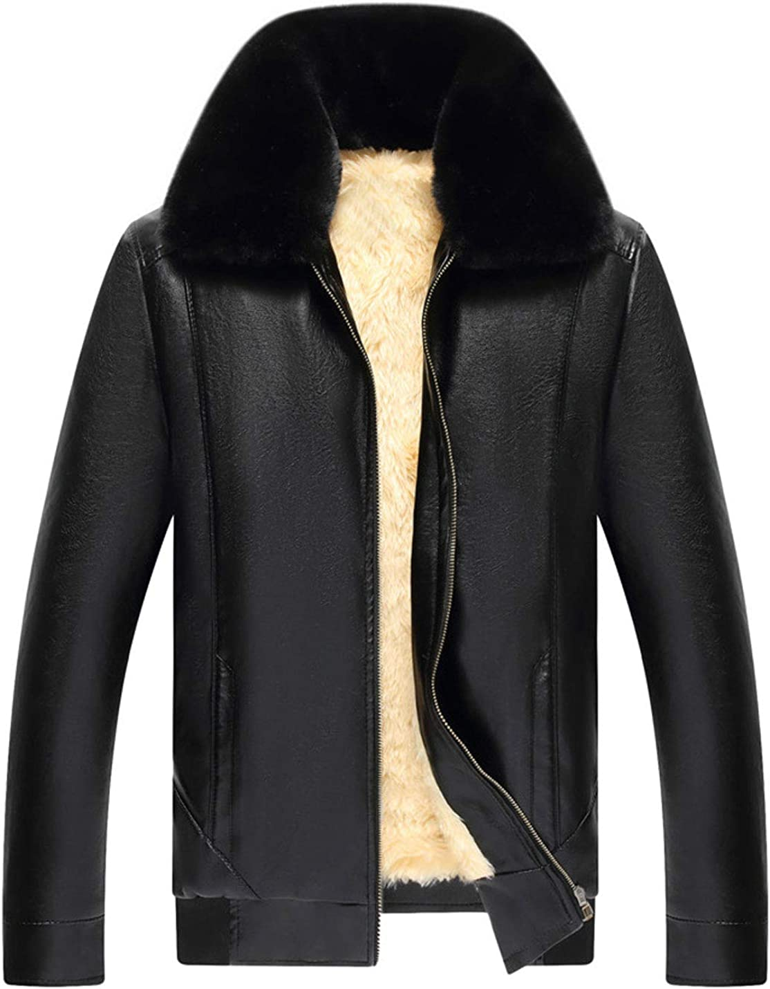 Lentta Mens Casual Faux Fur Trim Fleece Lined PU Leather Trucker Bomber Jacket Coats