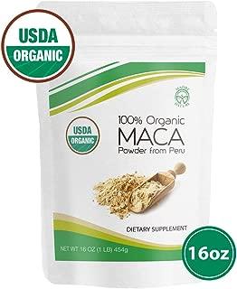 Madre Nature - Certified Organic Maca Root Powder - Premium Grade Superfood (Gelatinized) From Peruvian Andes - 100% Vegan, Kosher, Non-GMO, Gluten Free. Perfect for Smoothies & Breakfast - 16 oz