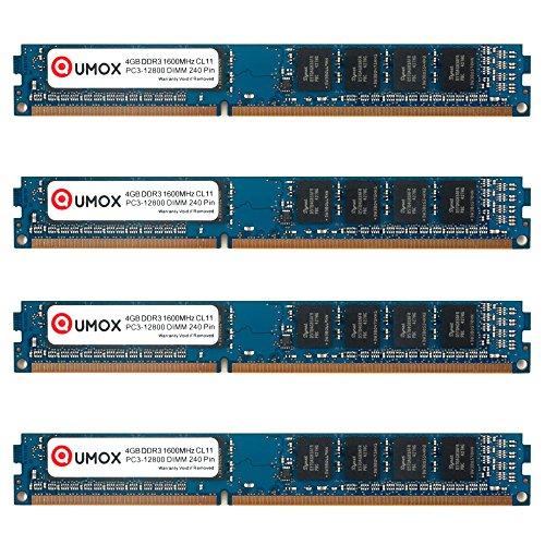 QUMOX Memoria DIMM 16GB (4x 4GB) DDR3 1600MHz 1600 PC3-12800