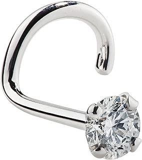 FreshTrends 2mm(0.03 克拉)钻石 14K 白金鼻环扭转螺钉(20G - 16G)