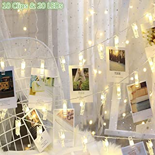 GHodec Photo Clip String Lights, Battery Powered 20 LEDs Fairy String Lights with 10-Clip for Hanging Pictures/Cards/Artwork/Photos/Memos/Party/Decor (Cold White)