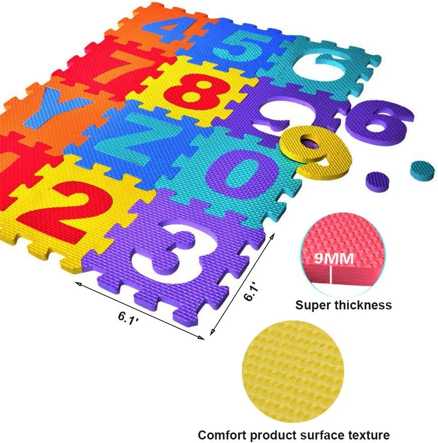 36-Piece Set WEUIE Baby Foam Play Mat 6.1x6.1 Inches Interlocking Kids Floor Puzzle Play Mat Colorful EVA Tiles with Alphabet and Numbers