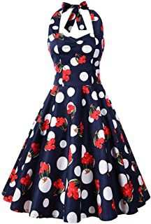 Shinningstar Womens' Vintage 100% Cotton 50s Retro Halter Floral Full Swing Garden Picnic Dress