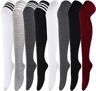 Aoutacc, 8 pares de calcetines de muslo alto a rayas para mujer por encima de la rodilla de rayas delgadas medias de tubo altas y largas, calentadores de pierna alta para mujer