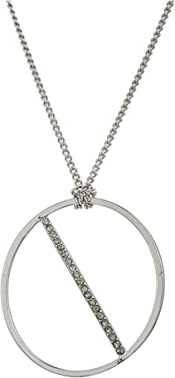 Oval Pave Pendant Necklace 16""