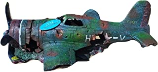 Military Thunderbolt Fighter Airplane Wreck Aquarium Fish Tank Ornament Decoration, Large in Size