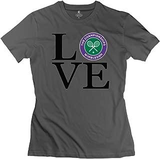 TASY Women's Love Tennis Love Wimbledon 100% Cotton T-Shirt White