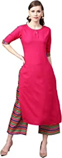 Ethnic Empire Women's New Stylish Designer Blue and Pink Rayon Kurtis With Palazzo