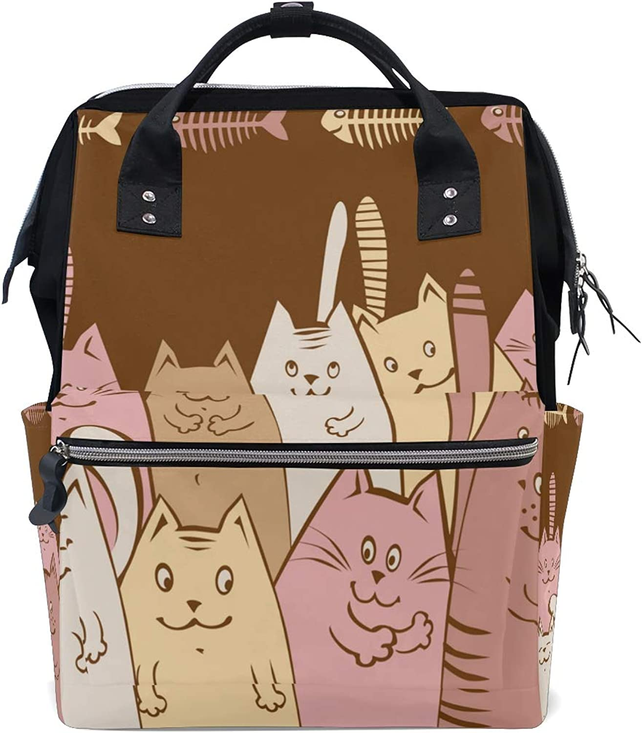DEZIRO Canvas Cartoon Cats and Fish Bone School Pack Backpacks Travel Bag