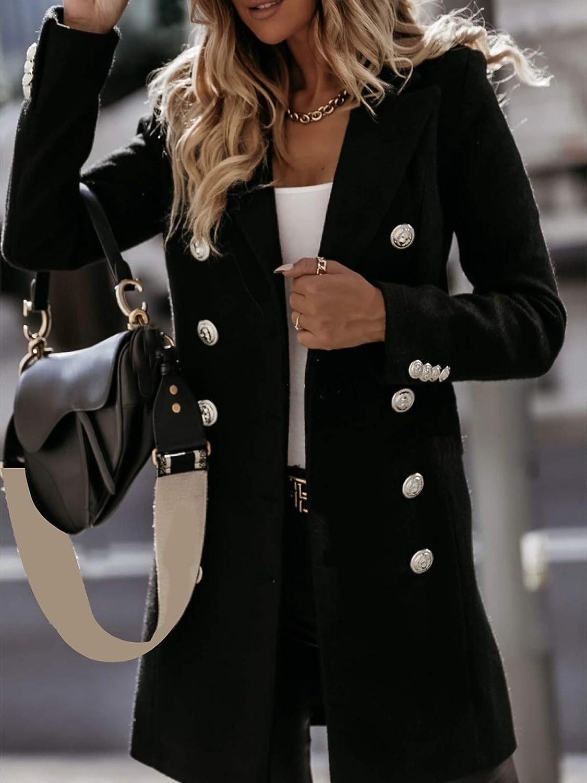 Shownicer Damen Blazer Winter Mantel Lang Wollmantel Steppmantel Knopf Klassische Vintage Zweireihig Revers Slim Fit Trenchcoat mit Taschen B Schwarz