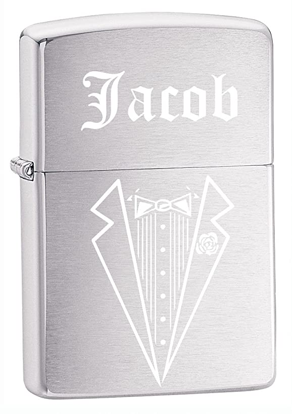 Groomsman, Best man Gift Personalized Tuxedo Zippo LIGHTER - Free Laser Engraving (Brush Silver)