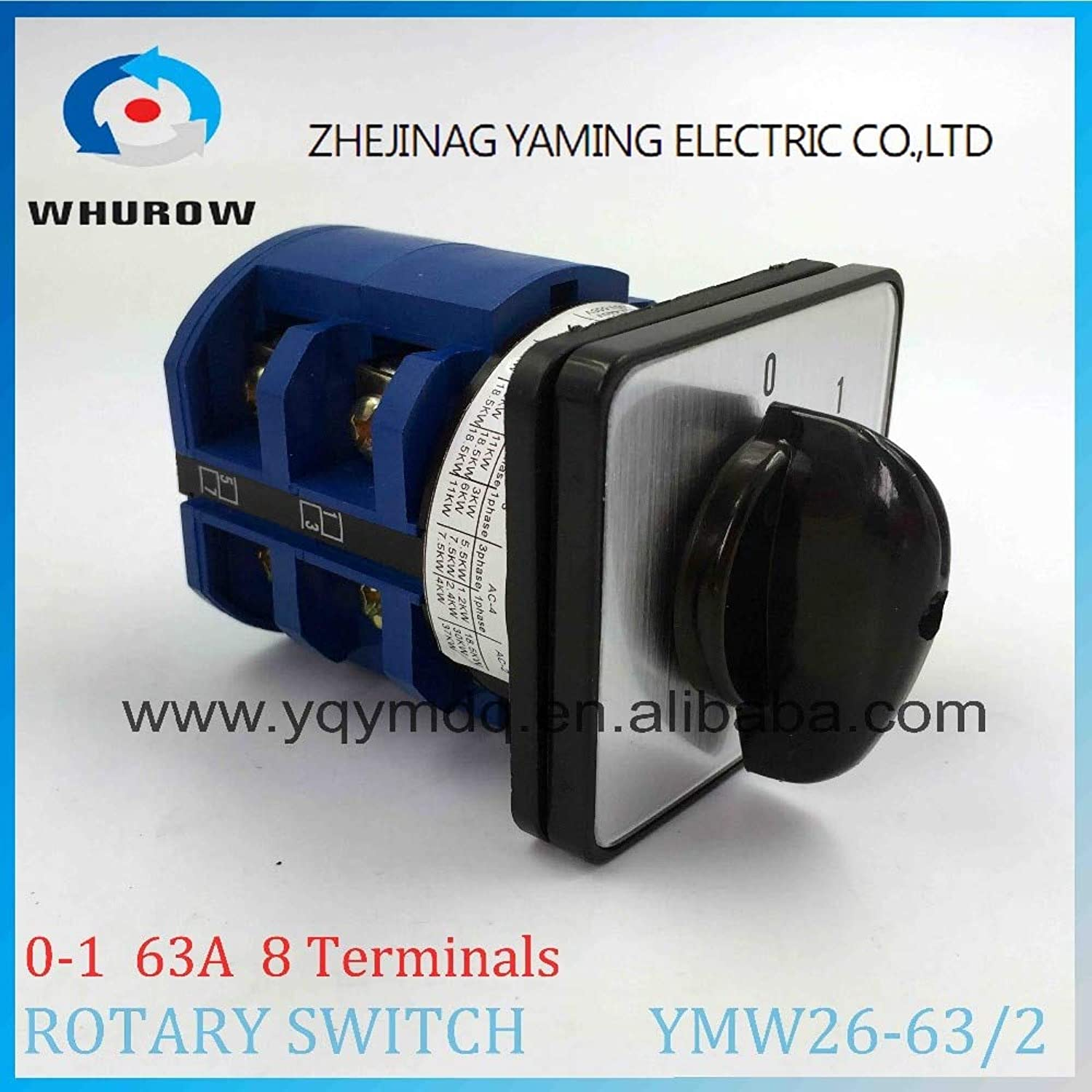 LW26 YMW2663 2 redary Switch 2 postion (01) Off ON 690V 63A 2 Pole 8 Terminal Screw Universal Changeover cam Main Switch