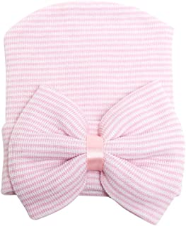 Song Qing Bowknot Stripe Newborn Baby Girls Infant Toddler Hospital Beanie Hat Cap