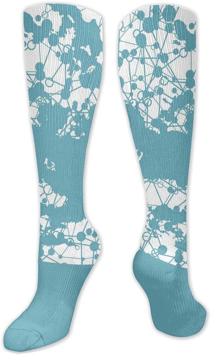 Blue White Dot Knee High Socks Leg Warmer Dresses Long Boot Stockings For Womens Cosplay Daily Wear