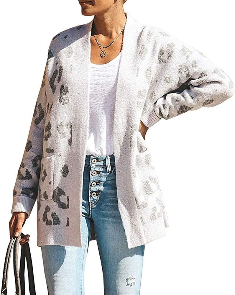 Qearal Womens Loose Open Front Cardigan with Pockets Long Sleeve Knit Leopard Print Cozy Sweater Coat Outwear