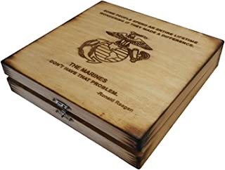 USMC Keepsake Box - Made a Difference - Ronald Reagan Marine Corps Quote Keepsake Box - Boot Camp Graduation Gift