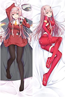 Elibeauty Darling-in-The-FRANXX Zero Two Pillowcase, Anime Characters Double-Sided Decorative Pillow Cover Home Sofa Decor Gift for Anime Fans(M: Peach Skin)