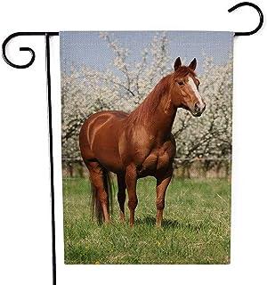 EMMTEEY Chrsitmas Garden Flag Double Sided Burlap Decoration 12.5X18 Inch for Yard Outdoor Decor Garden Flag Horse in Fron...