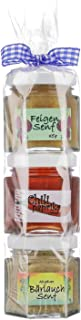 Senf Geschenkrolle - Feinkost Senf Geschenkset aus dem Allgäu - 45g & 40g Delikatesse Senf und 50g Chili-Paprika Gelee in Geschenkverpackung