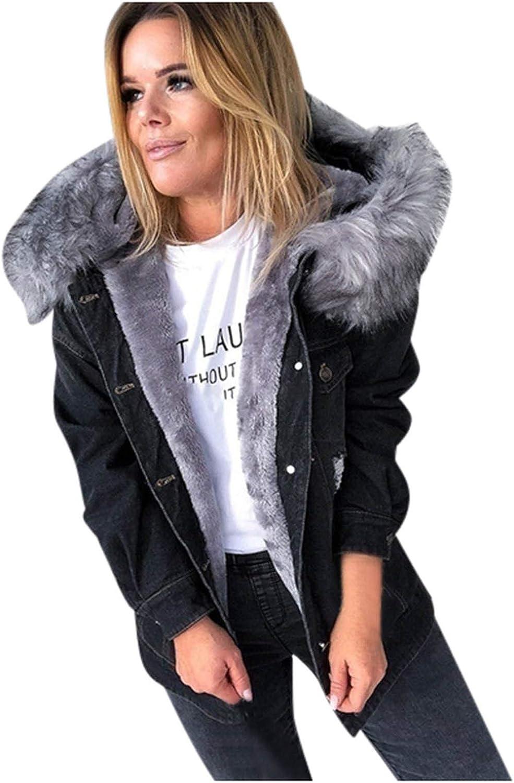 Women's Hoodies Winter Metal Buckle Closure Faux Fur Supper Warm Jean Jacket with Pockets