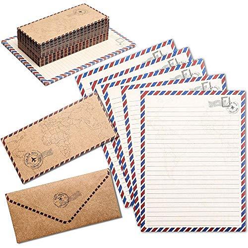 Papier à Lettres de Voyage Vintage avec Enveloppes Assorties, Lot de 48