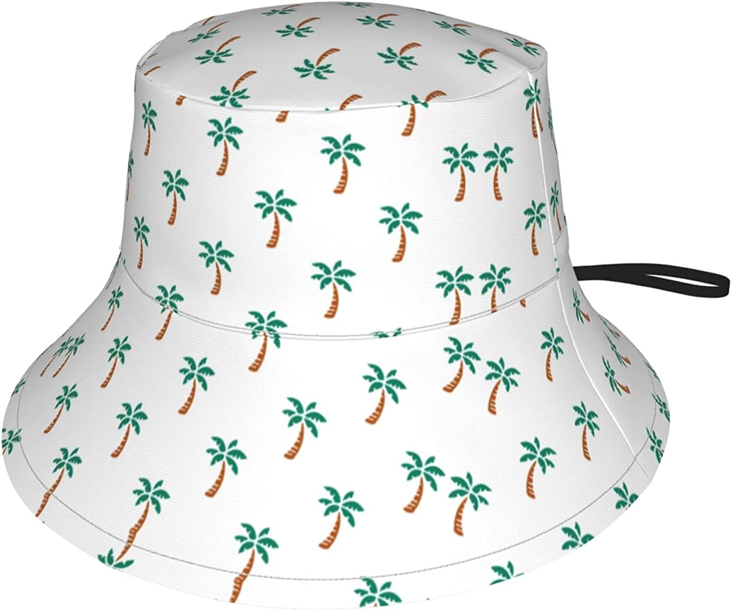 White Tropical Palm Tree Kids Bucket Hat Sun Protection Hat for Boys Girls Summer Hat